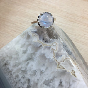 Sterling Silver Moonstone Crystal Ball Ring - Sterling Silver Rings - AlphaVariable