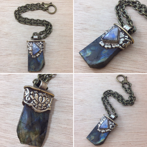 Moonstone and Labradorite Necklace - Labradorite Necklaces - AlphaVariable