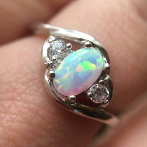 Opal Engagement Ring With CZ Accents - Ring - AlphaVariable