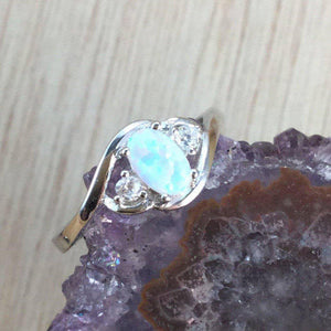 Opal Ring With CZ Accents - Ring - AlphaVariable