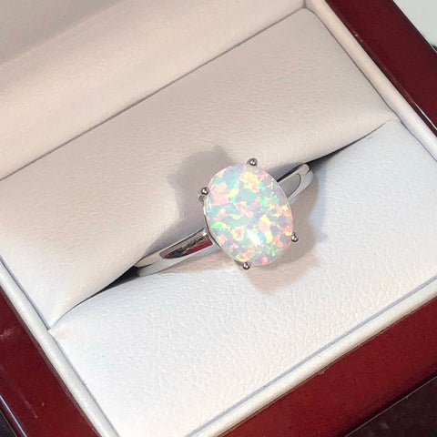 Oval Opal Engagement Ring in Cherry Wood Gift Box