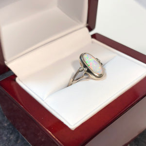 Oval Opal Ring in Wood Gift Box - Ring - AlphaVariable
