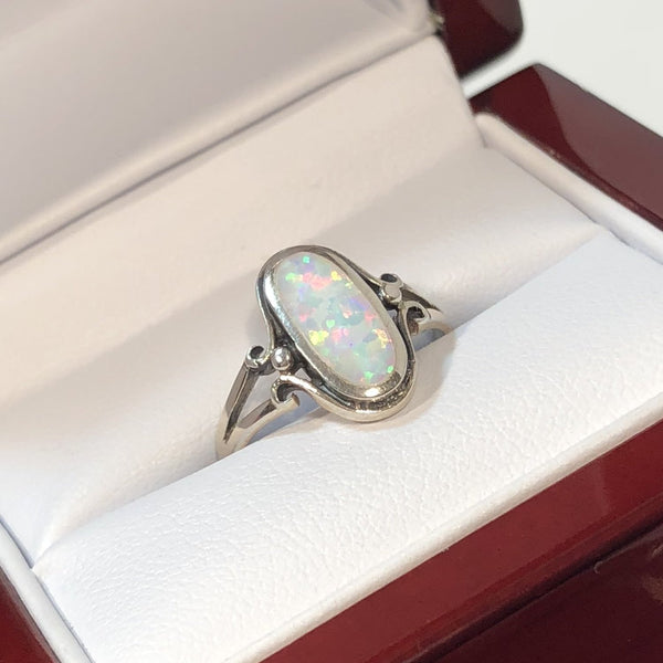 Oval Opal Ring in Wood Gift Box