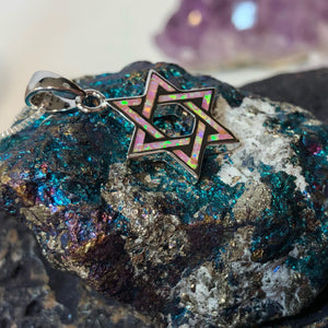 Pink Opal Star of David Necklace - Necklace - AlphaVariable
