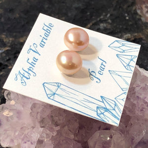 Pink Pearl Stud Earrings - Earrings - AlphaVariable