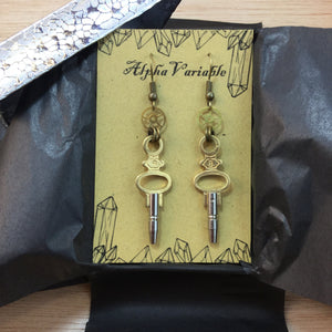 Pocket Watch Winding Key Earrings - Earrings - AlphaVariable