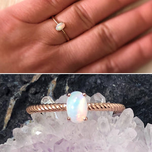 Twisted Rose Gold Band With Opal Stone