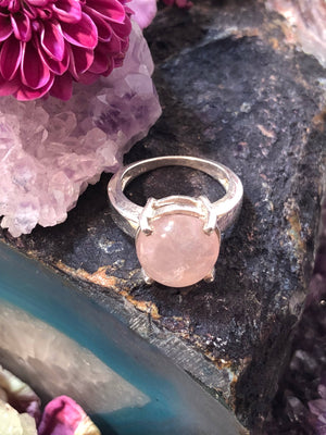 Rose Quartz Crystal Ball Ring - Ring - AlphaVariable
