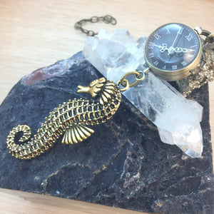 Seahorse Pocket Watch Necklace - Necklace - AlphaVariable