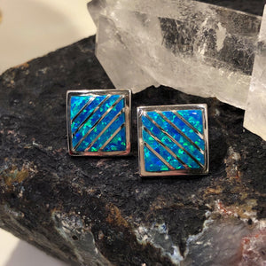 Blue Opal Square Earrings - Earrings - AlphaVariable
