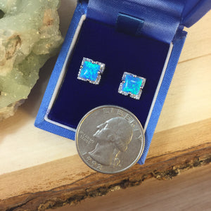 Blue Opal Square Stud Earrings - Earrings - AlphaVariable