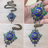 Malachite and Lapis Om Necklace - Necklace - AlphaVariable