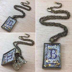 "Steampunk ""B"" Necklace - Pocket Watch Necklace - AlphaVariable"