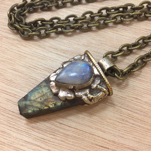 Moonstone and Labradorite Necklace - Necklace - AlphaVariable