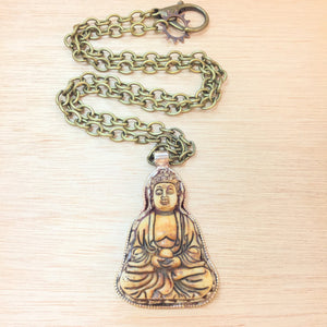 Carved Bone Buddha Necklace - Necklace - AlphaVariable