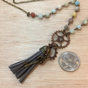 Steampunk Gear Tassel Necklace - Necklace - AlphaVariable