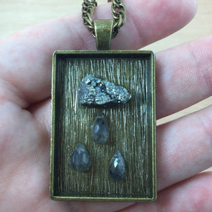 Pyrite & Labradorite Storm Necklace - Steampunk Necklace - AlphaVariable