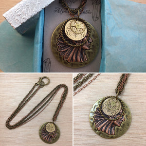 Native American Gear Necklace - Steampunk Necklace - AlphaVariable