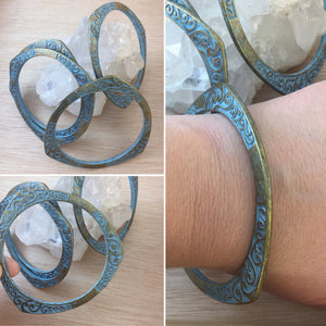 Green Patina Bangle Bracelet - Bracelet - AlphaVariable