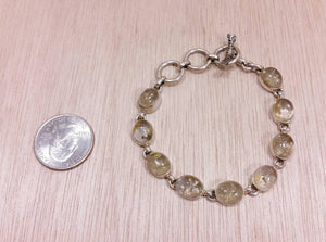 Sterling Silver Rutilated Quartz Bracelet - Bracelet - AlphaVariable