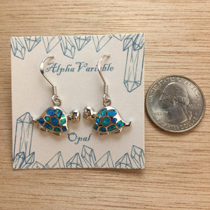 Sterling Silver Opal Turtle Earrings - Earrings - AlphaVariable