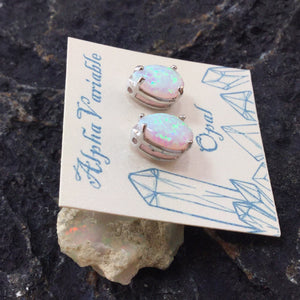 Silver Opal Stud Earrings - Earrings - AlphaVariable