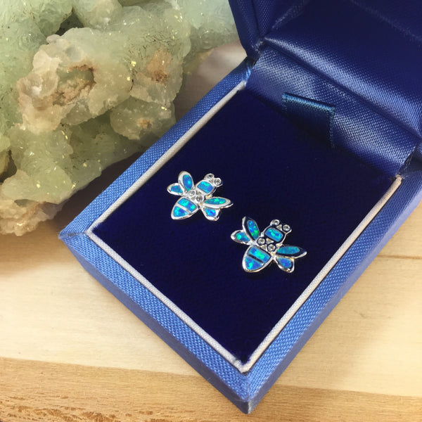 Sterling Silver Opal Bee Earrings - Earrings - AlphaVariable