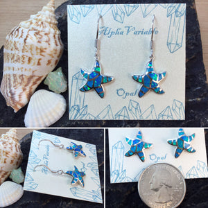 Sterling Silver Opal Starfish Earrings - Earrings - AlphaVariable