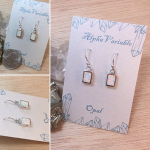 Sterling Silver Opal Earrings Dangle Square Drops