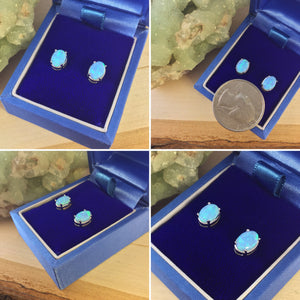 Sterling Silver Blue Opal Earrings - Earrings - AlphaVariable