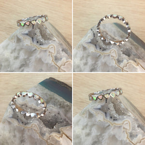 Opal Heart Band Ring - Ring - AlphaVariable