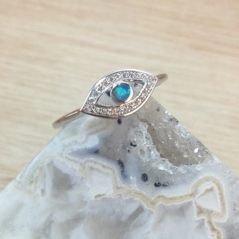 Sterling Silver Evil Eye Opal Ring - Rings - AlphaVariable