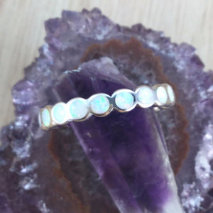 Sterling Silver Opal Band Ring - Rings - AlphaVariable