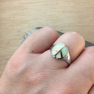 Sterling Silver Opal Peace Sign Ring - Rings - AlphaVariable