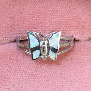 Sterling Silver Opal Butterfly Ring - Rings - AlphaVariable