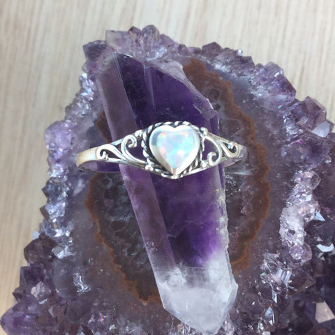 Sterling Silver Opal Ring - ring - AlphaVariable