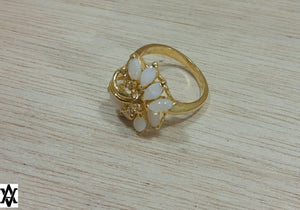 Vintage Gold Opal Cocktail Ring - Rings - AlphaVariable