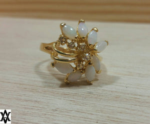 Vintage Gold Opal Cocktail Ring - Ring - AlphaVariable