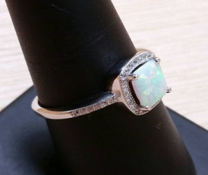 Square Opal Engagement Ring - Ring - AlphaVariable