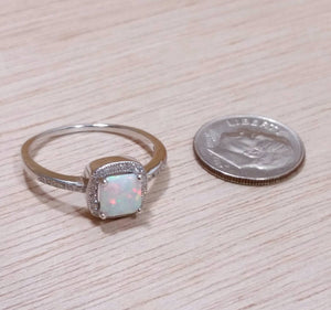 Square Opal Engagement Ring - Rings - AlphaVariable