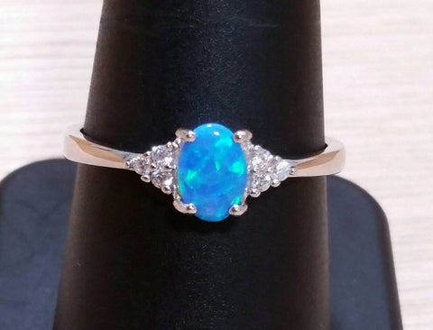 Sterling Silver Opal Ring - Rings - AlphaVariable