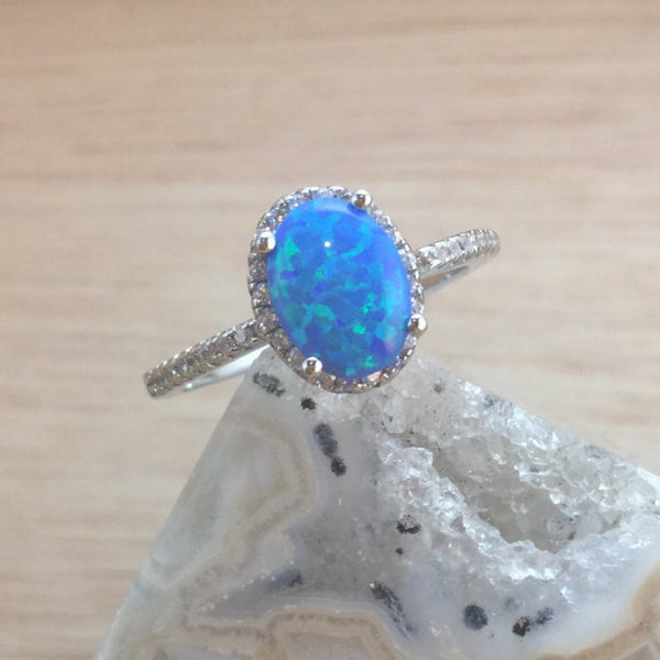 Blue Oval Opal Ring - Ring - AlphaVariable