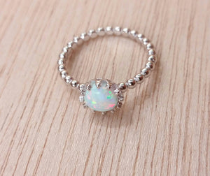 Sterling Silver White Opal Ring - Rings - AlphaVariable