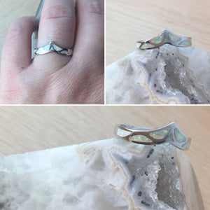 Sterling Silver Opal Chevron Ring - Rings - AlphaVariable