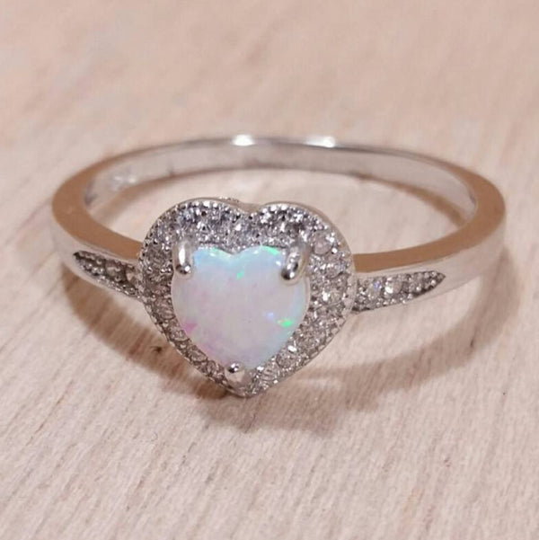 Sterling Silver Opal Heart Ring - Rings - AlphaVariable