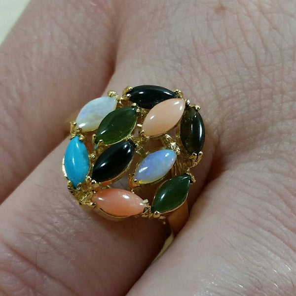 Vintage Multistone Cocktail Ring - Ring - AlphaVariable
