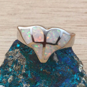 Sterling Silver Opal Whale Tail Ring - Rings - AlphaVariable