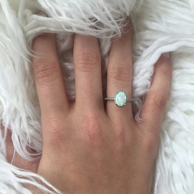 Opal Engagement Ring With Simulated Diamond Halo Sterling