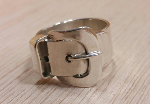 Sterling Silver Belt Buckle Ring - Sterling Silver Rings - AlphaVariable