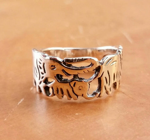 Sterling Silver Elephant Ring - Sterling Silver Rings - AlphaVariable